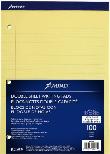 Ampad Wide Ruled Double Sheet Writing Pad - 100 Sheets - Yellow Perspective: front