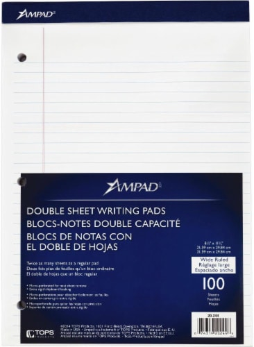Ampad Wide Ruled Double Sheet Writing Pad - 100 Sheet - White Perspective: front