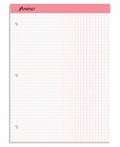 Ampad Quad Rule Double Sheet Graph Pad - Pink Perspective: front