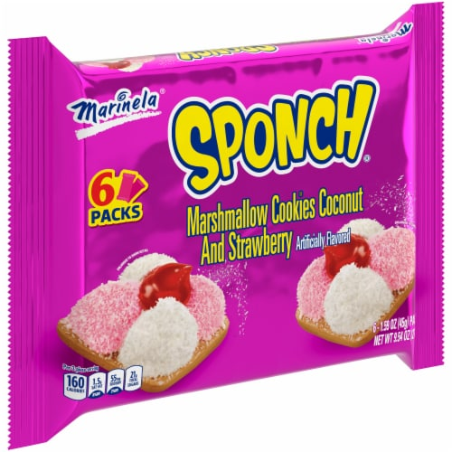 Marinela Sponch Marshmallow Coconut and Strawberry Cookies Perspective: front
