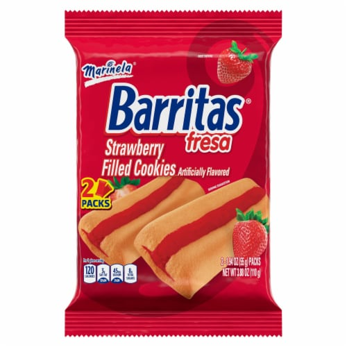 Marinela Barritas Fresa Strawberry Filled Cookies Perspective: front