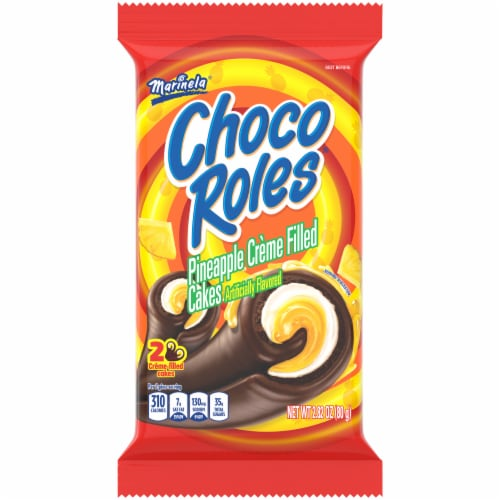 Marinela Choco Roles Pineapple Flavored Creme Filled Cakes Perspective: front