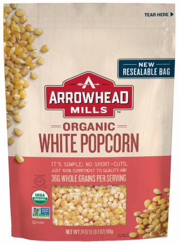 Arrowhead Mills Organic White Popcorn Perspective: front