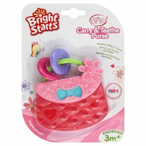Bright Starts Pretty in Pink Carry and Teethe Purse Infant Toy Perspective: front