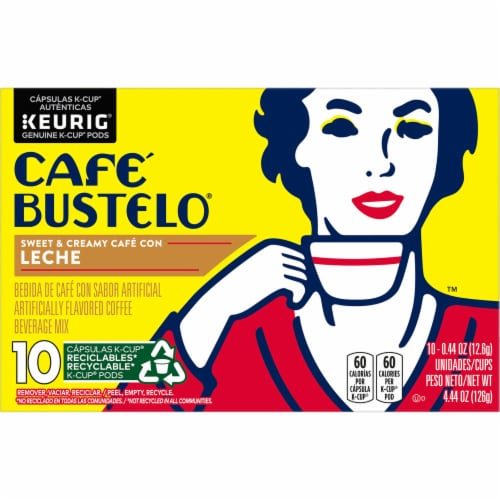 Cafe Bustelo Cafe con Leche Coffee K-Cup Pods Perspective: front