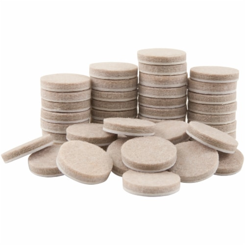 Waxman Self-Stick Felt Pads - 48 Pack - Oatmeal Perspective: front