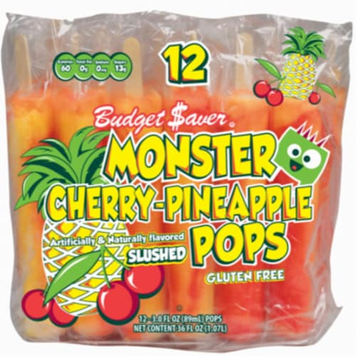 Budget Saver Gluten Free Monster Cherry-Pineapple Pops 12 Count Perspective: front