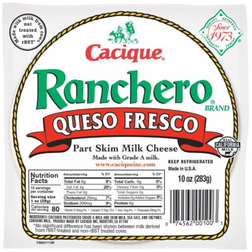 Cacique Ranchero Queso Fresco Part Skim Milk Cheese Perspective: front