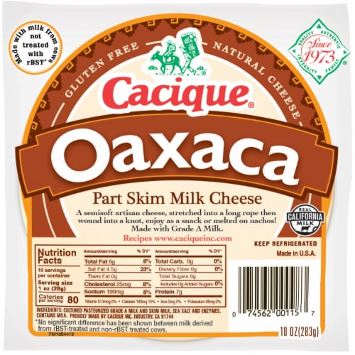 Cacique Oaxaca Part Skim Milk Cheese Perspective: front