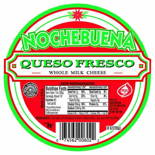 Nochebuena Queso Fresco Whole Milk Cheese Perspective: front