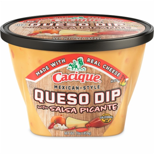 Cacique Mexican Style Salsa Picante Queso Dip Perspective: front