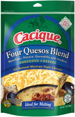Cacique Four Quesos Blend Shredded Cheeses Perspective: front
