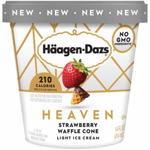 Haagen-Dazs Heaven Strawberry Chocolate Waffle Cone Light Ice Cream Perspective: front