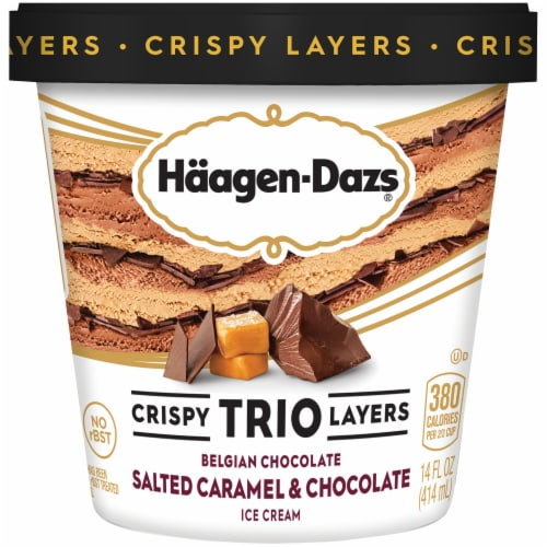 Haagen-Dazs Salted Caramel & Chocolate Trio Crispy Layers Ice Cream Perspective: front