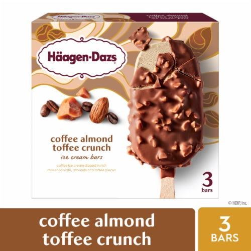 Haagen-Dazs Coffee Almond Crunch Ice Cream Bars Perspective: front