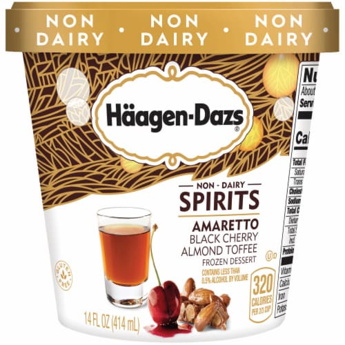 Haagen-Dazs Non-Dairy Spirits Amaretto Black Cherry Almond Toffee Ice Cream Perspective: front