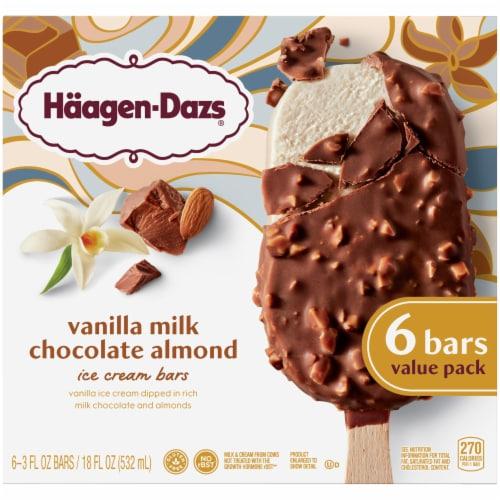 Haagen-Dazs Vanilla Milk Chocolate Almond Ice Cream Bars Perspective: front