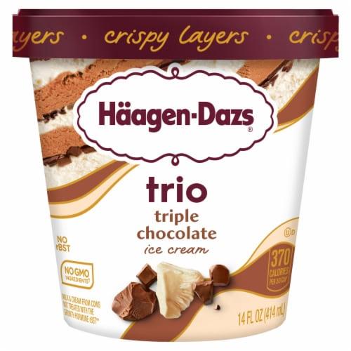 Haagen-Dazs White & Milk Chocolate Trio Crispy Belgian Chocolate Layers Ice Cream Perspective: front