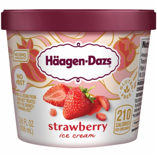 Haagen-Dazs Gluten Free Strawberry Ice Cream Cup Perspective: front