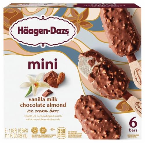 Haagen-Dazs Vanilla Milk Chocolate Almond Snack Size Ice Cream Bars Perspective: front
