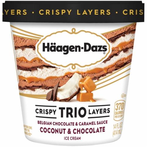 Haagen-Dazs Coconut & Chocolate Trio Crispy Layers Ice Cream Perspective: front