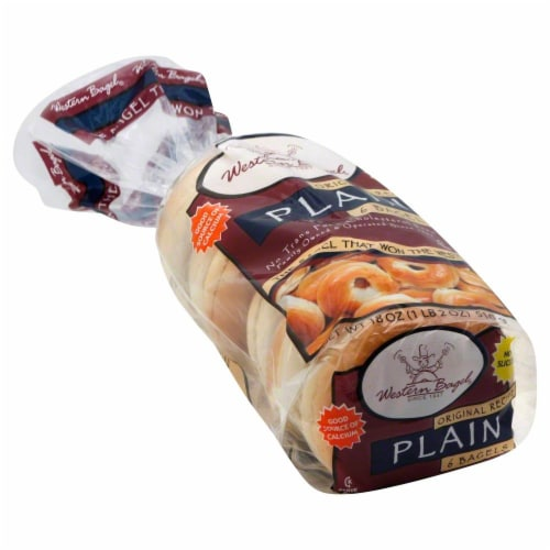Western Bagel Plain Bagels 6 Count Perspective: front