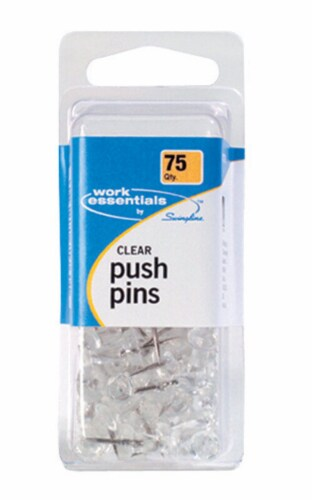 Swingline Work Essentials Push Pins 75 pk - Case Of: 4; Each Pack Qty: 75; Total Items Qty: Perspective: front