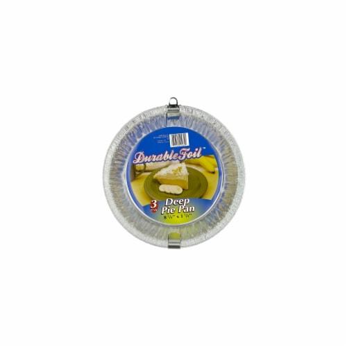 Durable Foil 3 Count 8in. Aluminum Deep Pie Pans  D21030 - Pack of 12 Perspective: front