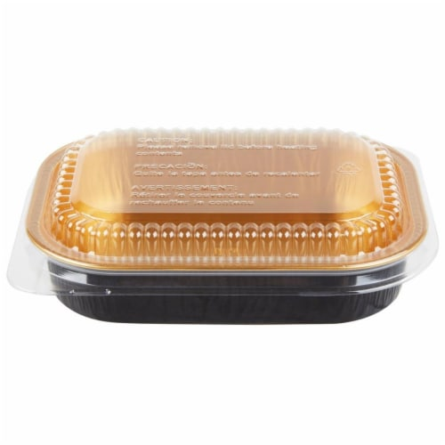 Durable Packaging 9220PT100 Mini Dish Pan with Dome Lid, Black & Gold Perspective: front