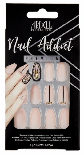 Ardell Nail Addict Premium Blush Geometric Crystal False Nail Kit Perspective: front