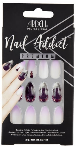 Ardell Nail Addict Premium Marble Purple False Nail Kit Perspective: front
