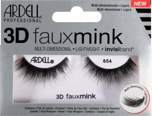 Ardell 3D Faux Mink 854 Black Lashes Perspective: front