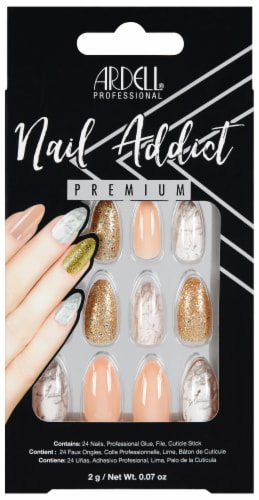 Ardell Nail Addict Pink Marble and Gold False Nail Kit Perspective: front