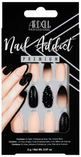 Ardell Nail Addict Premium Black Stud and Pink Ombre False Nail Kit Perspective: front