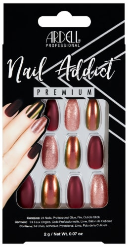 Ardell Nail Addict Premium Red Cateye False Nail Kit Perspective: front