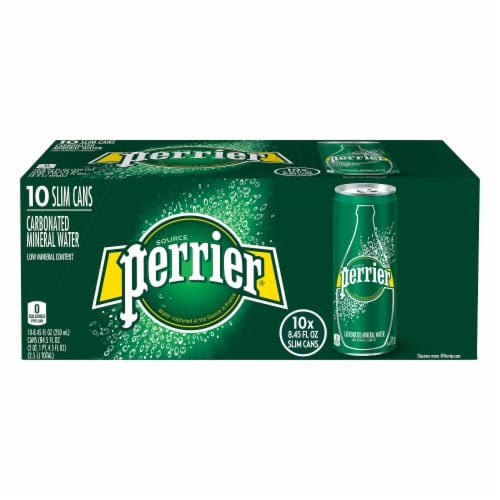 Perrier Carbonated Mineral Water 10 Cans Perspective: front