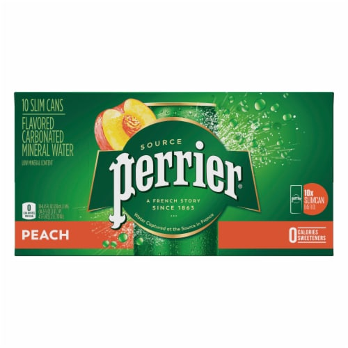 Perrier Peach Flavored Sparkling Mineral Water Perspective: front