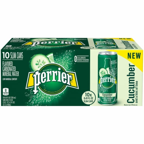 Perrier Cucumber Lime Flavored Carbonated Mineral Water 10 Cans Perspective: front