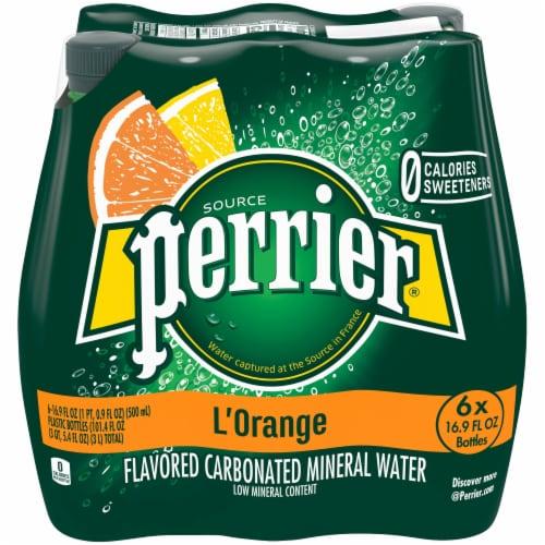 Perrier L'Orange Lemon and Orange Mineral Water Perspective: front