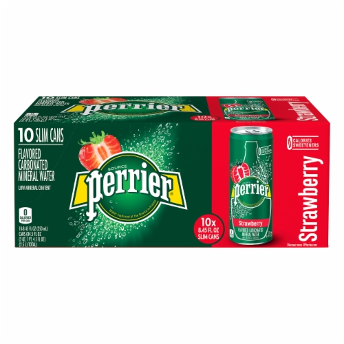 Perrier Strawberry Flavored Carbonated Mineral Water Perspective: front