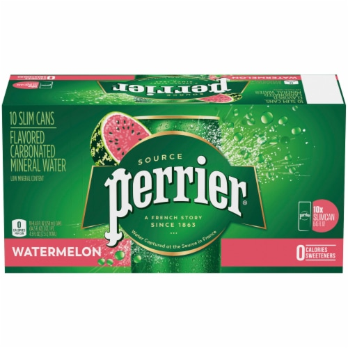 Perrier Watermelon Sparkling Natural Mineral Water 10 Cans Perspective: front