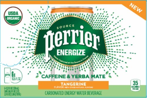 Perrier Energize Caffeine & Yerba Mate Tangerine Carbonated Beverage Perspective: front