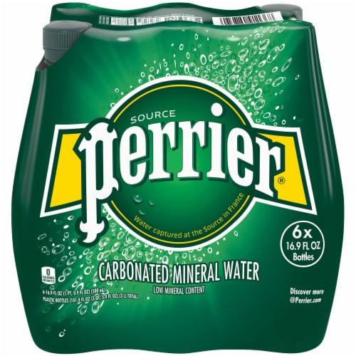 Perrier Sparkling Natural Mineral Water 6 Count Perspective: front