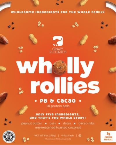 Crazy Richard's Wholly Rollies PB & Cacao Protein Balls Perspective: front