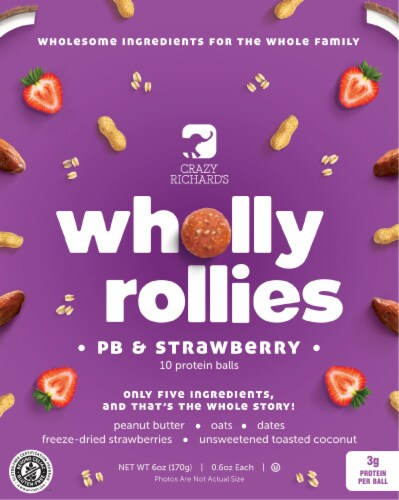 Crazy Richard's PB & Strawberry Wholly Rollies Protein Balls 10 Count Perspective: front