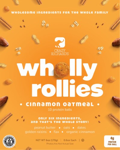 Crazy Richard's Wholly Rollies Cinnamon Oatmeal Protein Balls Perspective: front