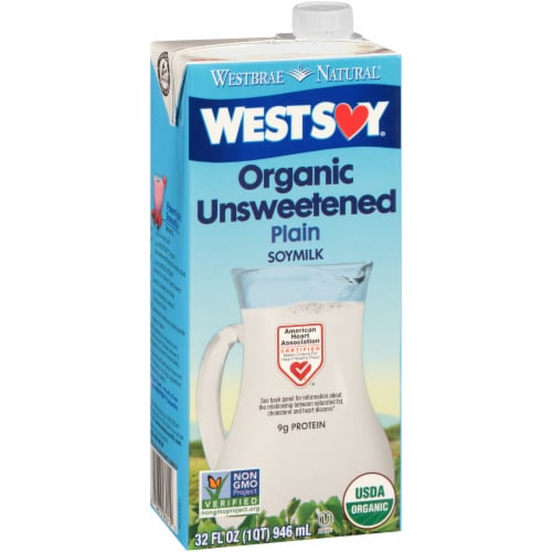 WESTSOY Organic Unsweetened Plain Soy Milk Perspective: front