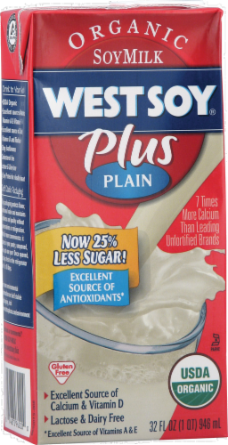 WestSoy Organic Plus Plain Soy Milk Perspective: front