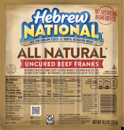 Hebrew National All Natural Uncured Beef Franks Perspective: front