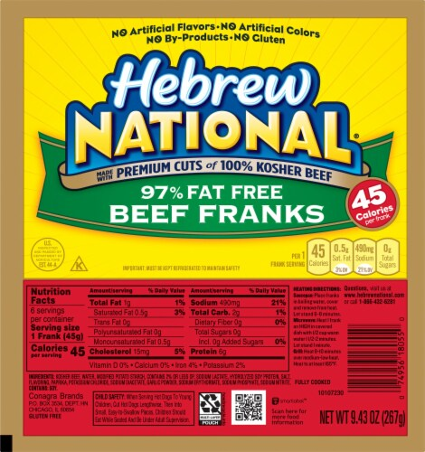 Hebrew National 97% Fat Free Beef Franks Perspective: front